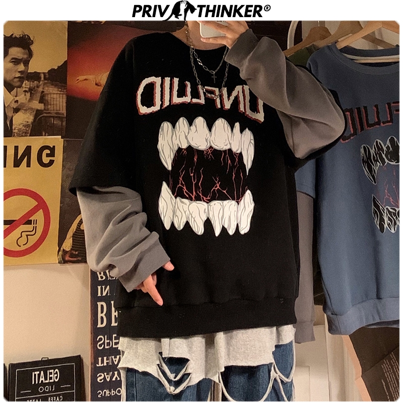 Privathinker Autumn Streetwear Men Sweatshirts Exaggeration Printed Man's Hoodies Hip Hop Loose Fake Two PiecesTops Pullovers