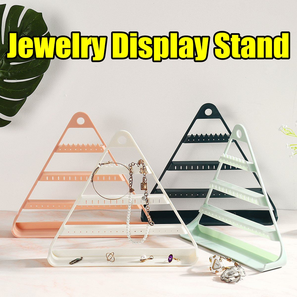 Triangle Jewelry Organizer Stand ABS Earring Holder Pesentoir Earrings Display Rack Etagere Jewelry Display With Hook 3 Color