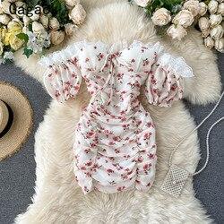 Gagaok, модное женское сексуальное и клубное платье, новинка лета 2020, платье-футляр с цветочным принтом и вырезом лодочкой, шикарные облегающие...