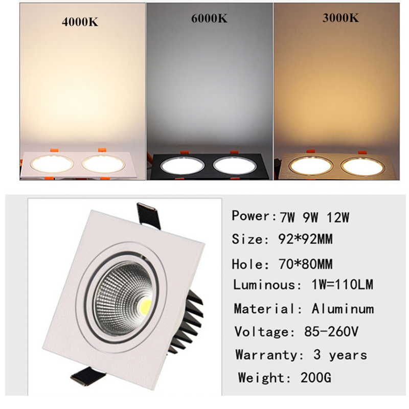 Image 3 - LED Down Light Square 7W 9W 12W Led Downlight COB Dimmable Recessed Led Ceiling Spot Light Lamp AC85 265V Driver Indoor lightingCeiling Lights   -