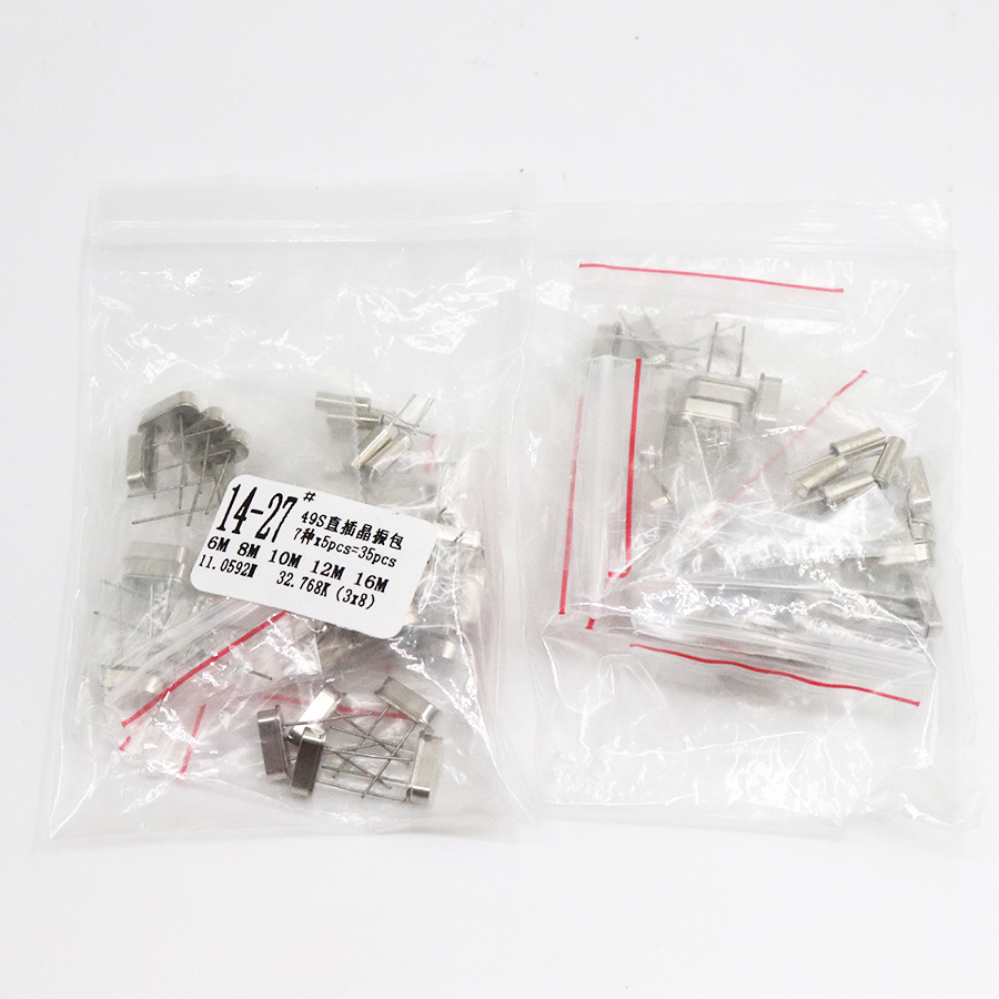 Hc-49s DIP Crystal Oscillator Electronic Kit Resonator Ceramic Quartz Resonator   7values X 5PCS 32.768K 6 8 10 12 11.0592 16MHZ