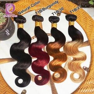 Image 5 - 1/3/4Pcs Ombre Bundles 1B/30 Remy Body Wave Bundles Brazilian Hair Weave Bundles Colored Brown Human Hair Extensions Racily Hair