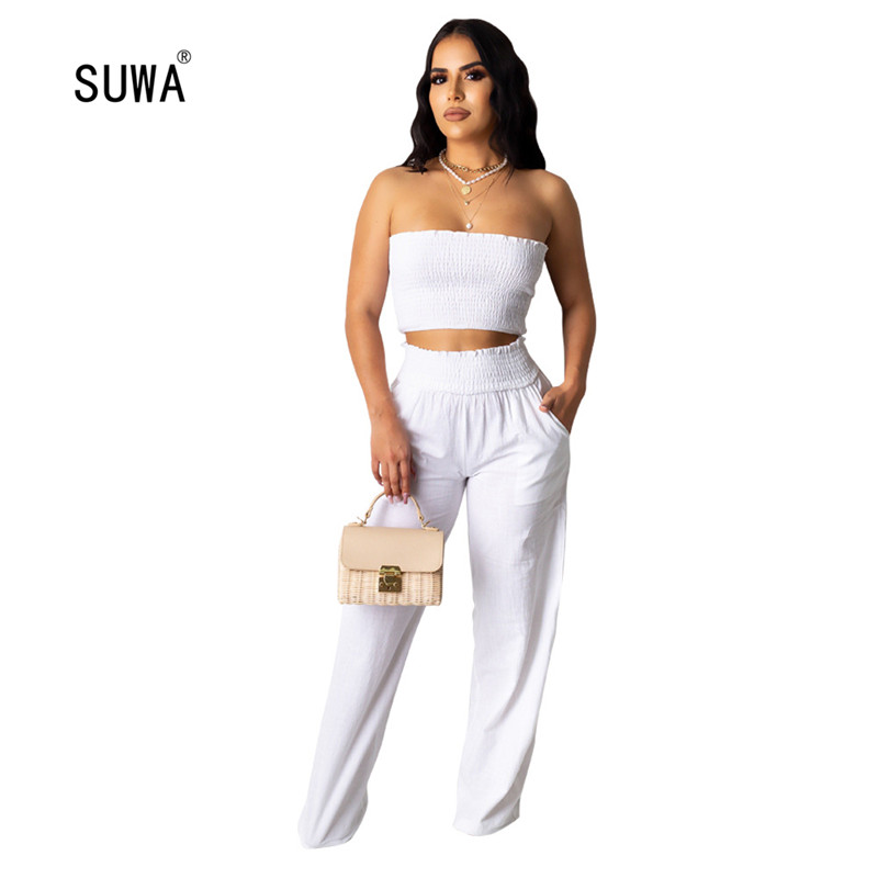 2020 Women Sets Summer Tracksuits Strapless Knitted Top+Pants Suit Two Piece Set Night Club Party Outfits 2 Pcs Street Wear