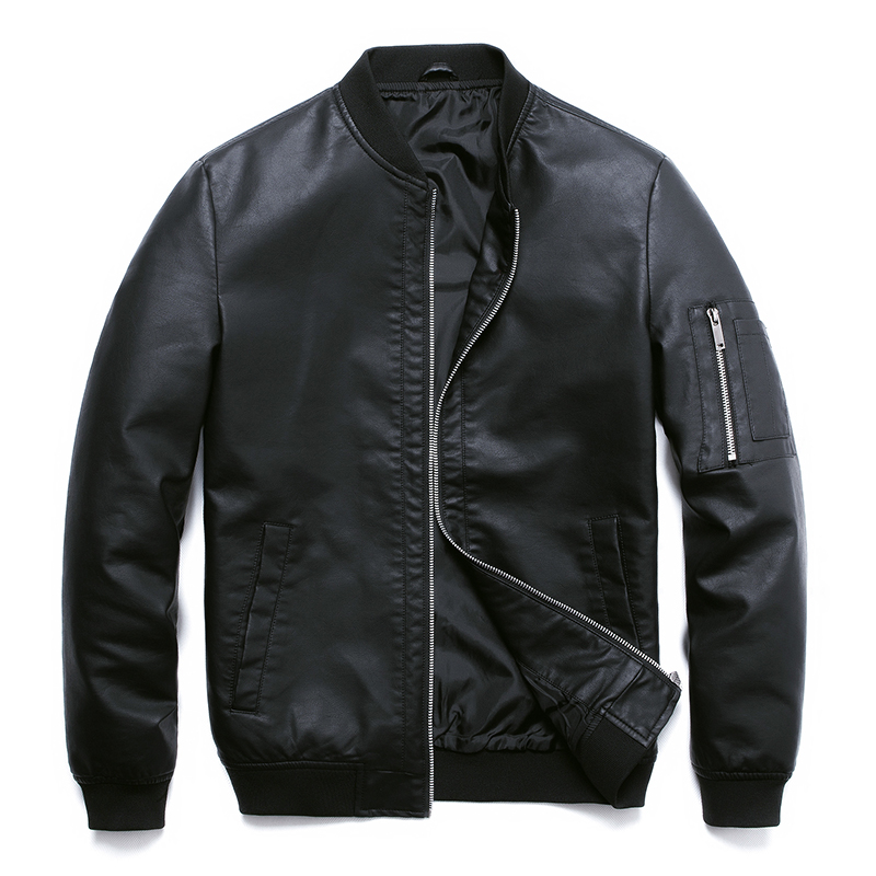 PU Leather Jacket For Men Motorcycle Autumn Black Bomber Mens Jackets Faux Leather Coat Men Clothing Baseball PU Jacket,ZA318
