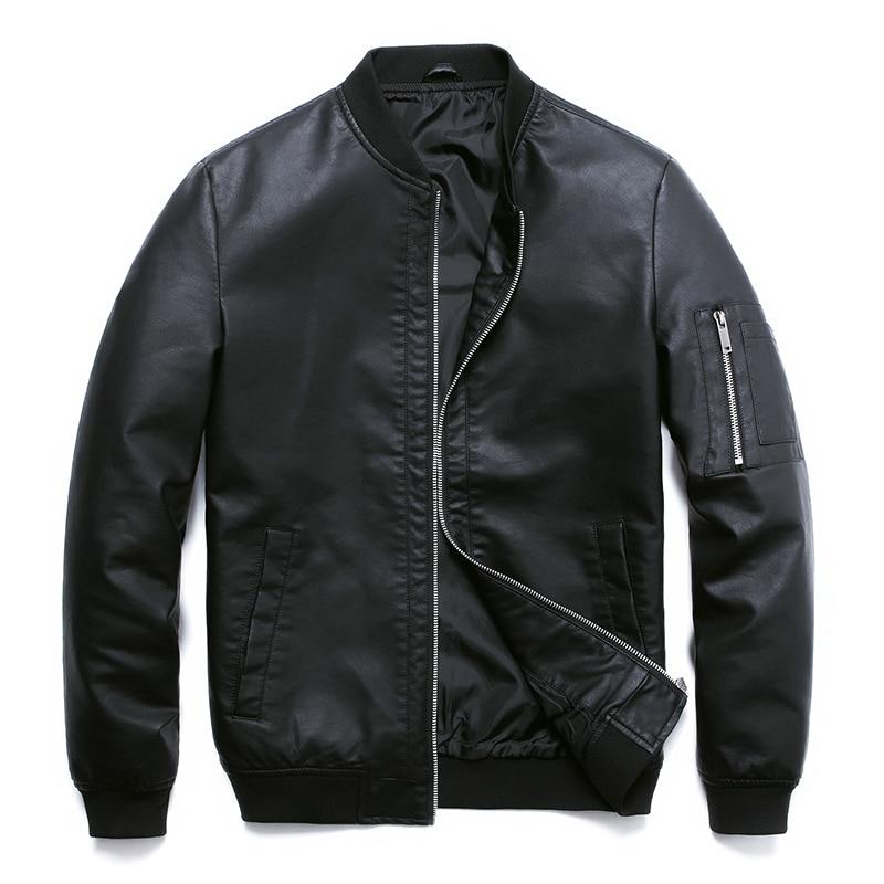 PU Leather Jacket For Men Motorcycle Autumn Black Bomber Mens Jackets Faux Leather Coat Men Clothing Baseball PU Jacket,ZA318