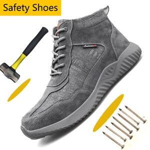 Image 1 - Stalen Neus Anti Smashing Mannen Veiligheid Schoenen Onverwoestbaar Anti Lek Werken Schoenen Man Veiligheid Alles In Een veiligheid Laarzen Schoenen