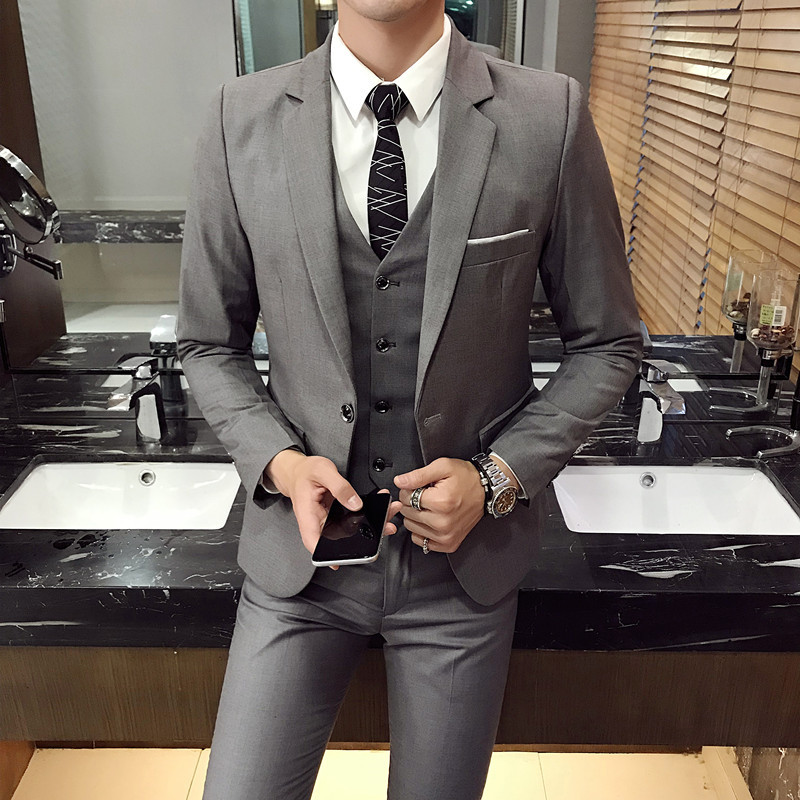 2019 Outfit Original Contracted Business And Leisure Suit Youth Pure Color  Three-piece Suit Of Cultivate One's Morality