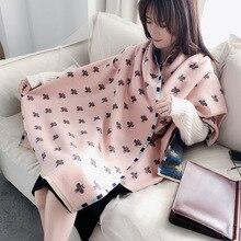 2020 luxo cachecol de caxemira feminino feijão impressão inverno cachecóis pashmina xales grossos envoltórios malha feminino bufandas cobertor quente