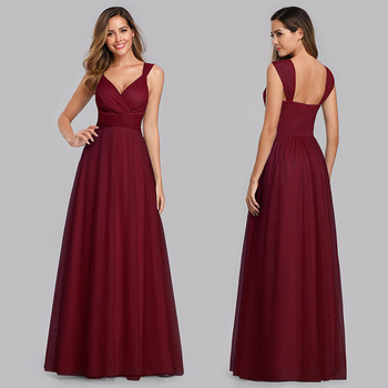 Evening Dress Long Elegant Side-Draped A-line V-neck with Straps Floor-length Sleeveless Evening Party Gowns Queen Abby 3