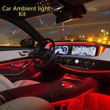 6 в 1 Автомобильный светильник Интерьер окружающего светильник RGB светодиодный Атмосфера волоконно-оптической полосы светильник с помощью ...