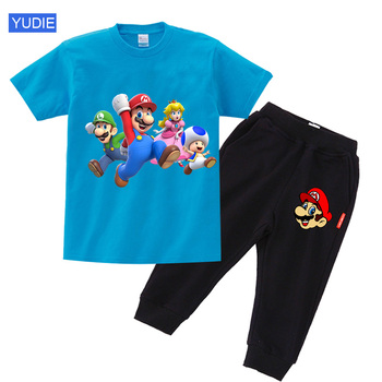 toddler boys outdoor clothing set kids clothes Cartoon Mario Children Funny sportwear Set Baby Boy Girl Summer Casual Suit Child - discount item  30% OFF Children's Clothing
