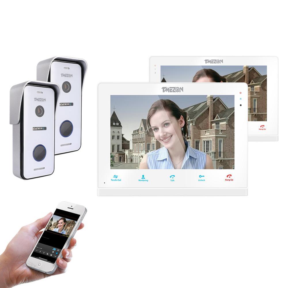 TMEZON ワイヤレス/Wifi スマート IP ビデオドアベルインターホンシステム、 10 インチ + 7 インチ画面モニターと 2 × 720 720p 有線ドア電話カメラ  グループ上の セキュリティ & プロテクション からの ビデオインターホン の中 1