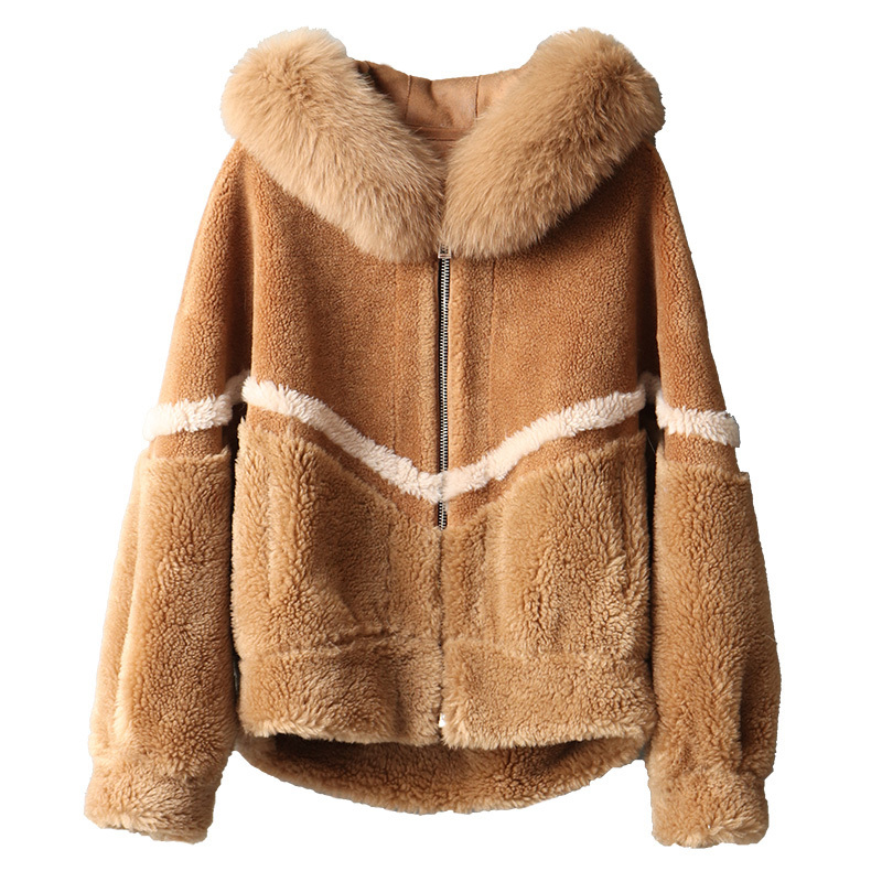 Fox Fur Collar Real Fur Coat Wool Jacket Autumn Winter Coat Women Clothes 2020 Streetwear Korean Vintage Sheep Shearling ZT3162