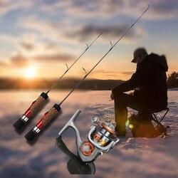 IField Winter Ice Fishing Reel Rod Combo: XO150 Mini kołowrotek z 41 cm/56 cm węgla wędka do połowów okoń szczupak