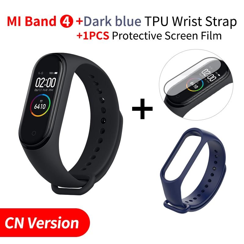 Xiaomi mi Band 4 Smart mi band 3 Цвета экран Браслет фитнес-трекер для измерения сердечного ритма Bluetooth 5,0 водонепроницаемый банда4 - Цвет: Add Darkblue Strap