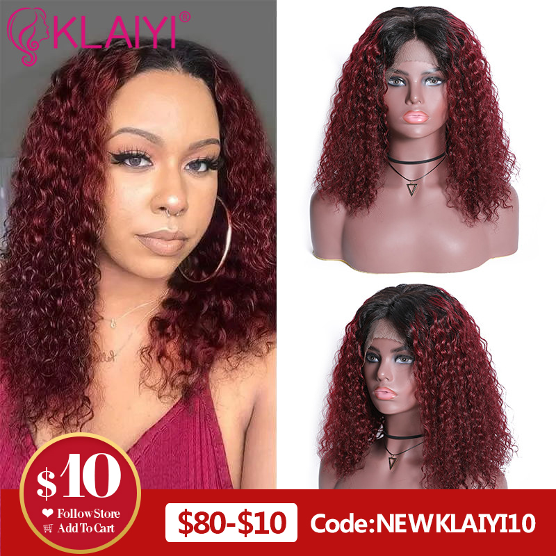 Klaiyi Hair Curly Bob Human Hair T1B99J/T1B30/Natural Wigs 8-14 Inch Pre Plucked Remy Hair 13*4 Lace Front Wig 130%-180% Density