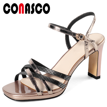 CONASCO Women Sandals Genuine Leather Summer Pumps High Heels Fashion Elegant Rhinestone Cross-Tied Wedding Party Shoes Woman