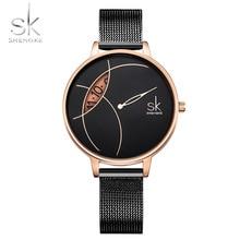 SHENGKE montres à Quartz pour femmes, argent, noir, bracelet en maille, Design créatif, nouvelle collection, décontracté