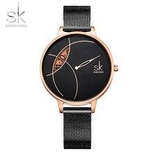 SHENGKE nowe zegarki damskie zegarek kwarcowy kobiety srebrny czarna siatka pasek moda Casual kreatywny projekt dziewczyna Reloj Mujer