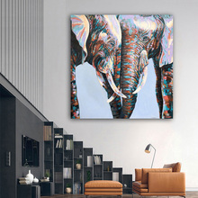 RELIABLI ART Two intimate Elephant Animal Canvas Painting Pop Art Posters and Prints Wall Picture for Living Room Home Decor