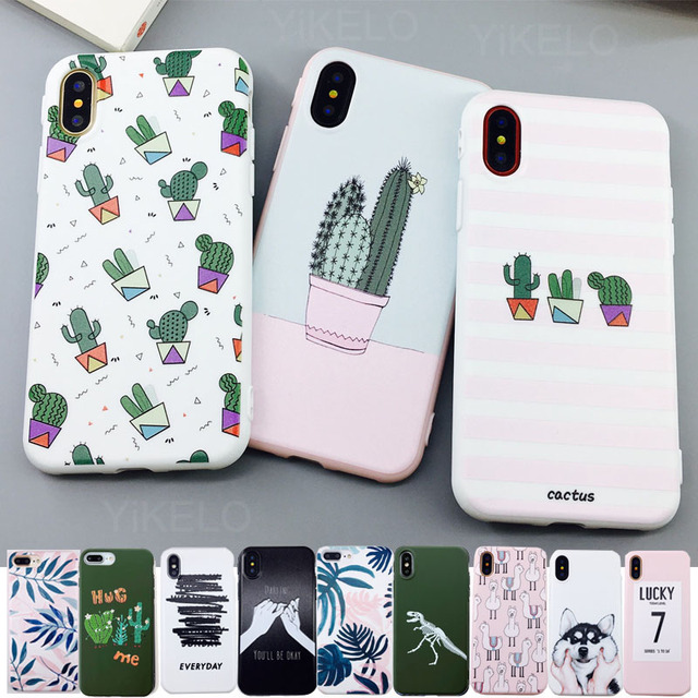 Candy Color Leaf Print Phone Case for iPhone Cactus Plants Fashion Soft TPU Rubber Silicon Cover