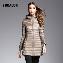 2019 Long Duck Down Parka Warm Feather Jacket For Women Winter Large Size Coats Ultra Light Quilted Hooded Outerwear
