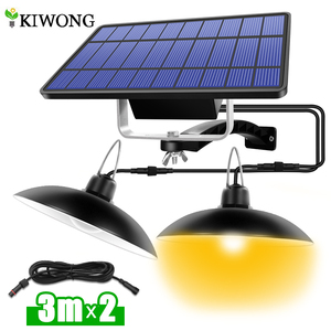 Double Head Solar Pendant Light Outdoor Indoor Solar Lamp With Line Warm White/White Lighting For Camping Home Garden Yard(China)