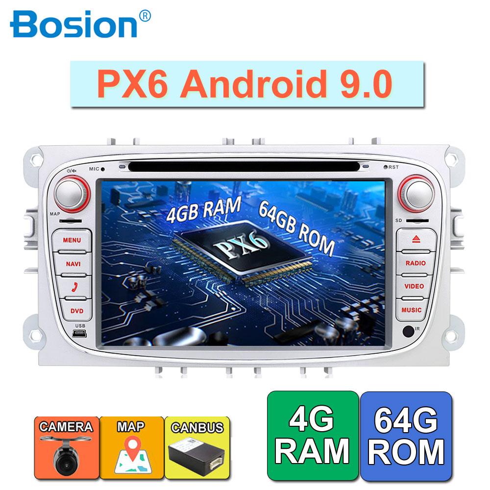 Lecteur DVD de voiture Android 9.0 deux Din 7 pouces pour FORD/Focus/S-MAX/Mondeo/C-MAX/Galaxy RAM 4G