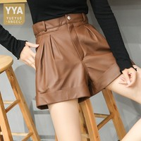 100% Genuine Leather Shorts Women Autumn Top Quality High Waist Trousers Wide Leg Shorts Plus Size Street Motorcycle Mini Shorts