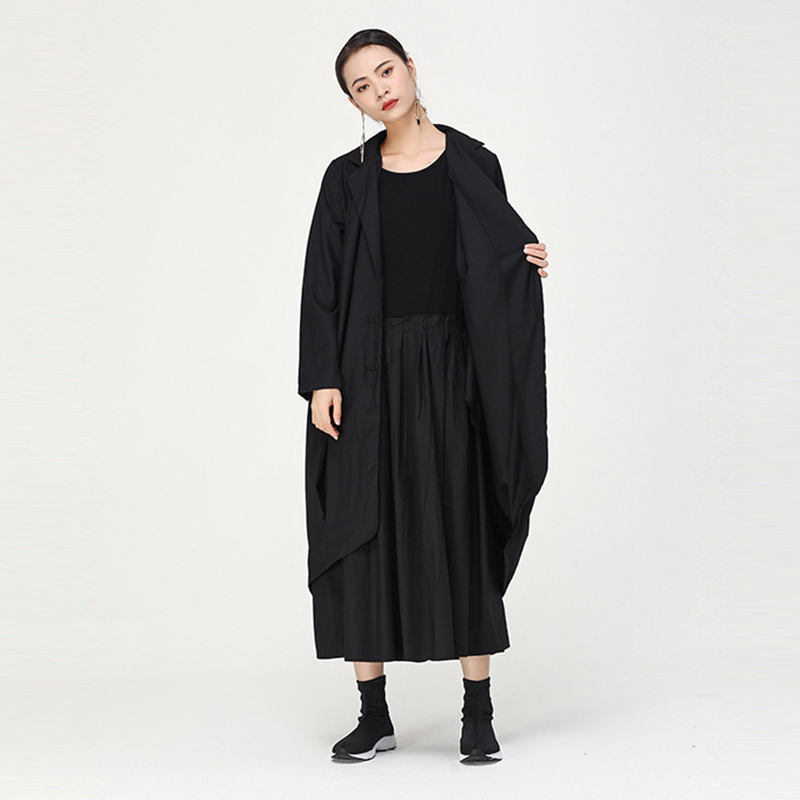 [EAM] Women Green Pleated Big Size Trench New Lapel Long Sleeve Loose Fit Windbreaker Fashion Spring Autumn 2020 1B679 1B679