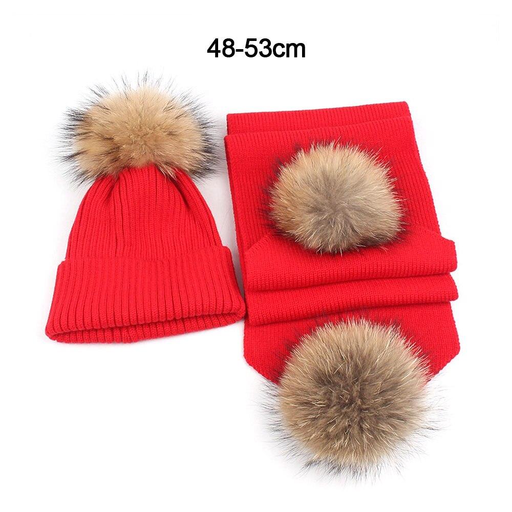 Зимняя вязаная шапка для родителей и детей ясельного возраста, шарф, комплект с меховым помпоном, шапка с помпоном, детская теплая шапочка, шапка для мальчиков и девочек, рождественские подарки