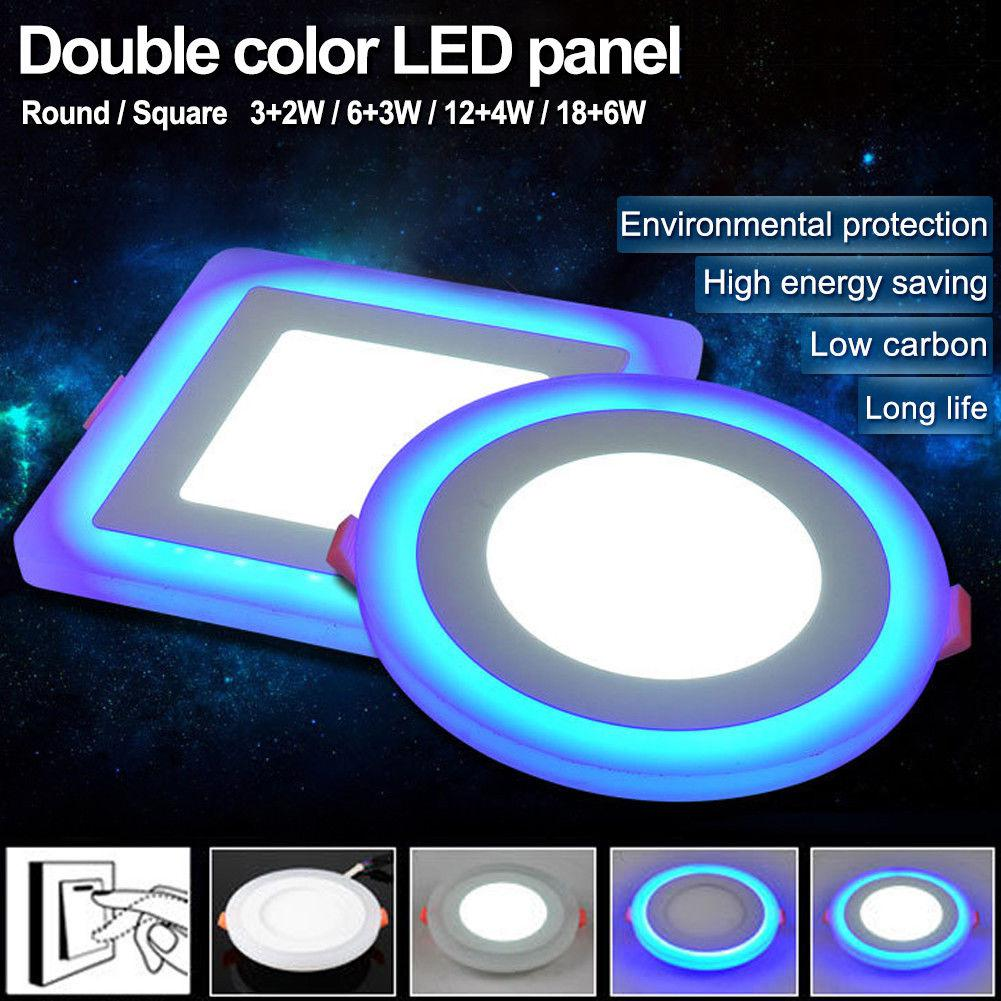 Kuulee Dual Color Acrylic LED Recessed Ceiling Panel Down Lights Ultra Slim Lamp For Indoor Office Restaurant