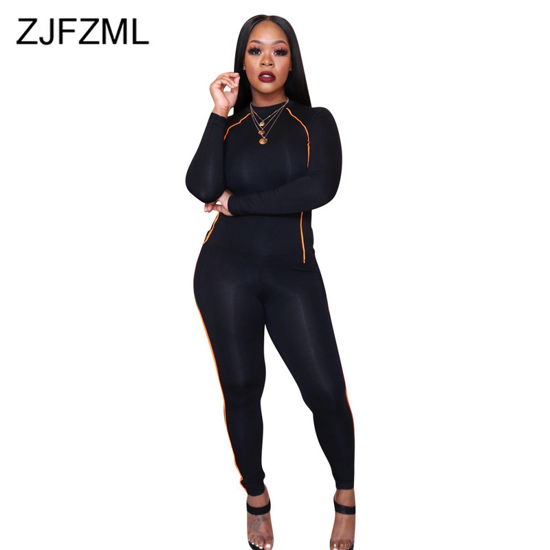Stripes Patchwork Sporty Two Piece Matching Sets Women Clothes O Neck Full Sleeve T Shirt And Pencil Pants Fall Winter Outfits