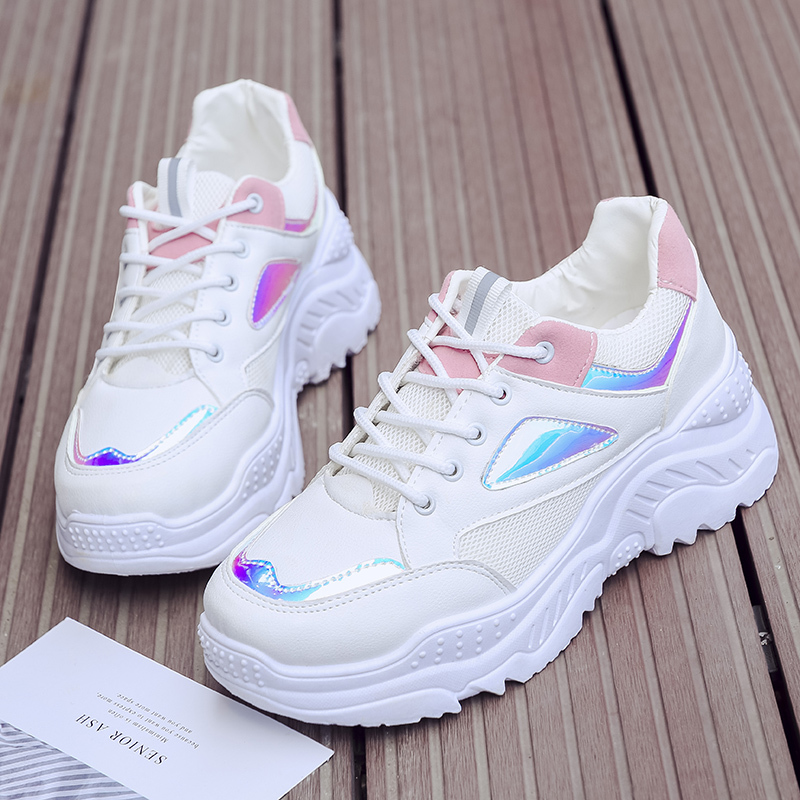 Colorful Laser Breathable platform sneakers women New Spring Autumn shoes women Breathable Fashion Mesh Lace Up white sneakers|Women's Vulcanize Shoes| |  - title=