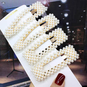 Fashion Pearl Hair Clips Snap Button Women Hair Hairpins Sweet Pearl Barrette Lady Barrette Stick Jewelry Accessorie 5PCS Set