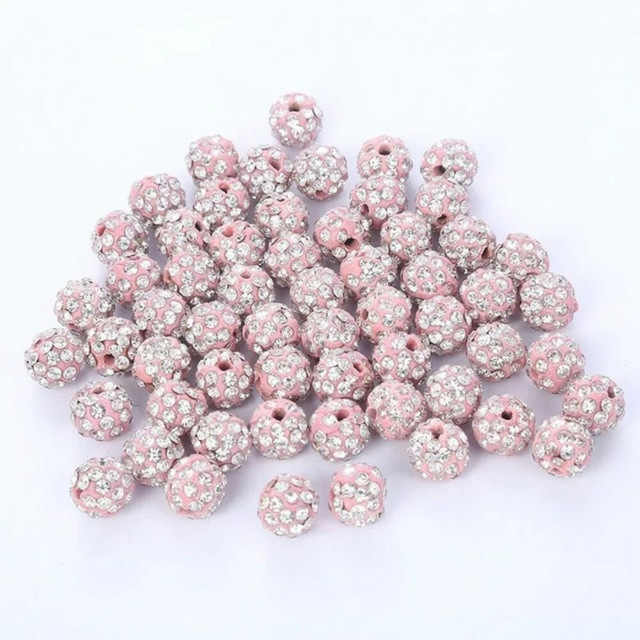 Berbeny 20 Pcs DIY Shambala Manik-manik untuk Gelang Rambut Klip 10 Mm Bulat Longgar Manik-manik Bola Kristal Perhiasan