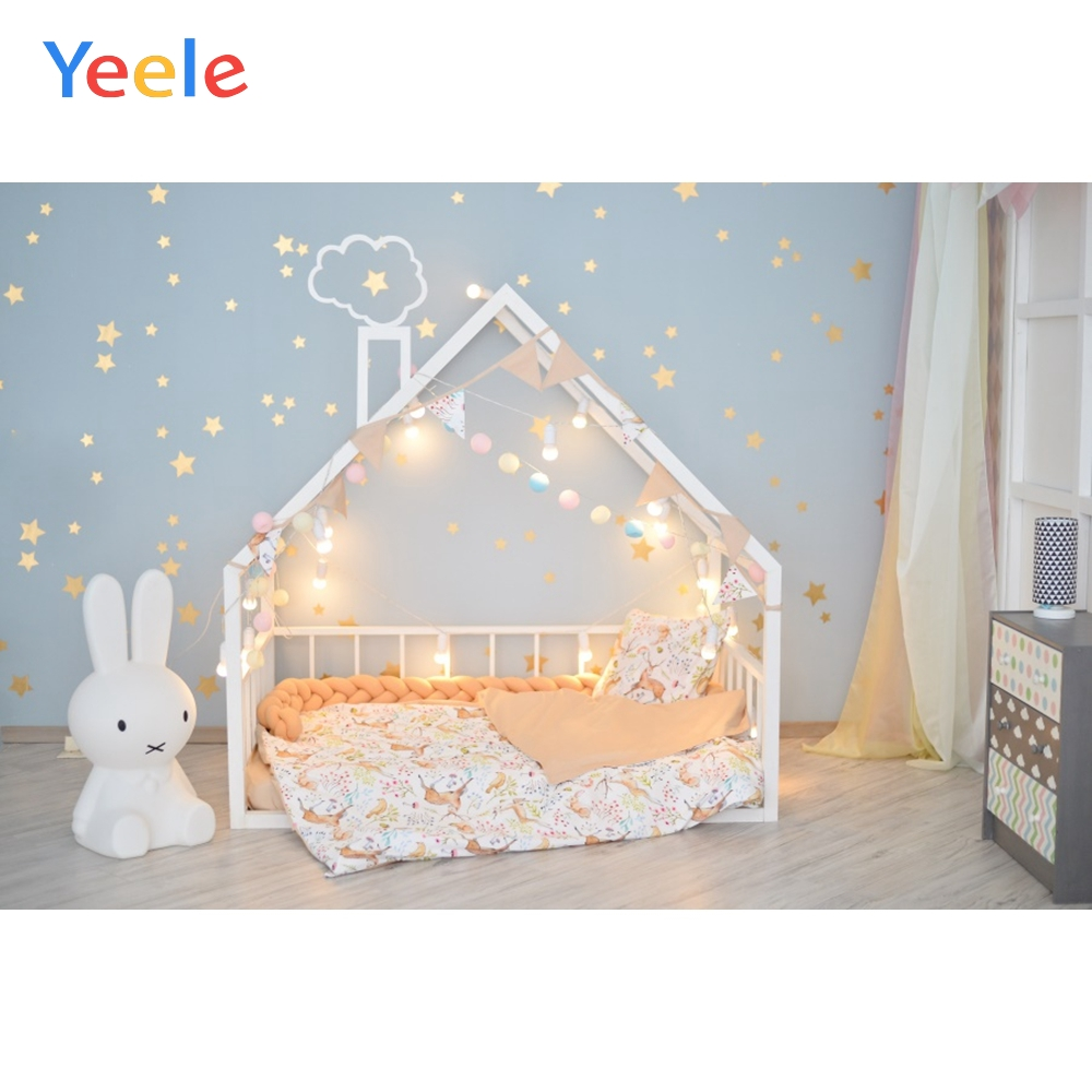 Yeele Baby Room Bunny Bed Star Baby Child Portrait Photo Backdrop Newborn Customized Photographic Background For Photo Studio