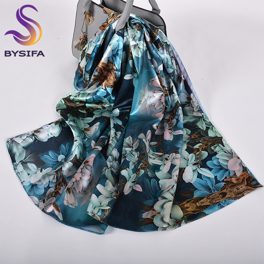 [BYSIFA]  Ink Blue Ladies Satin Long Silk Scarf Shawl New Magnolia Fashion Brand Scarves Printed Spring Fall Female Head Scarf