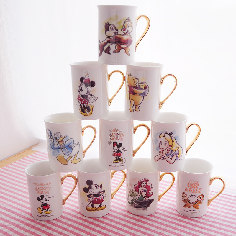 300ml Disney Minnie Mickey Cartoon Water Cup Coffee Tea Milk Ceramic Mug Home Office Collection Cups Festival Student Cup Gifts