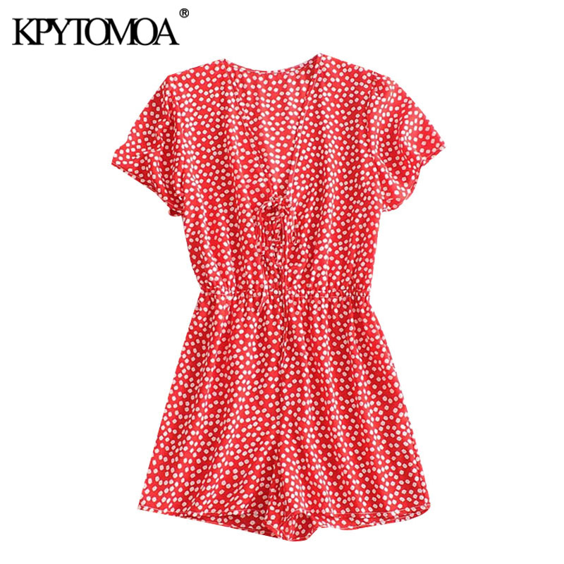 KPYTOMAO Women 2020 Sweet Fashion Flroal Print Playsuits Vintage Tied V Neck Short Sleeve Female Chic Jumpsuits Mujer