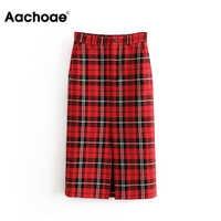 Women Fashion Knee Length Plaid Skirt Pockets Split One Side Elegant Midi Skirts Ladies High Waist Straight Vintage Jupe Femme
