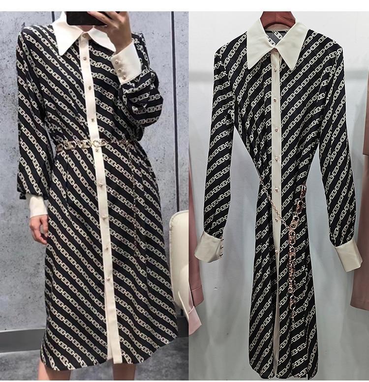 Printed Dress 100%Silk Long-Sleeve Summer And Chain-Belt Shir 21 Medium-Length New