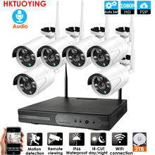 Plug and Play 6CH Audio1080P HD Kit NVR inalámbrico P2P interior al aire libre IR visión nocturna seguridad 2.0MP IP Cámara WIFI CCTV sistema
