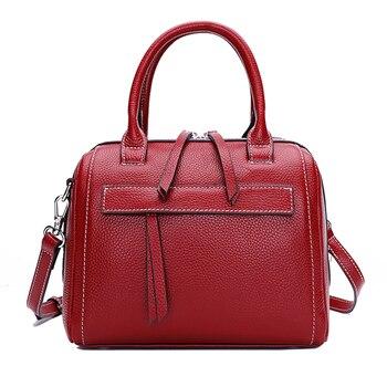 Genuine Leather Ladies Handbag Luxury Women Bag Red Color Designer Bag Retro New Tassel Ladies Leather Shoulder Bag Women