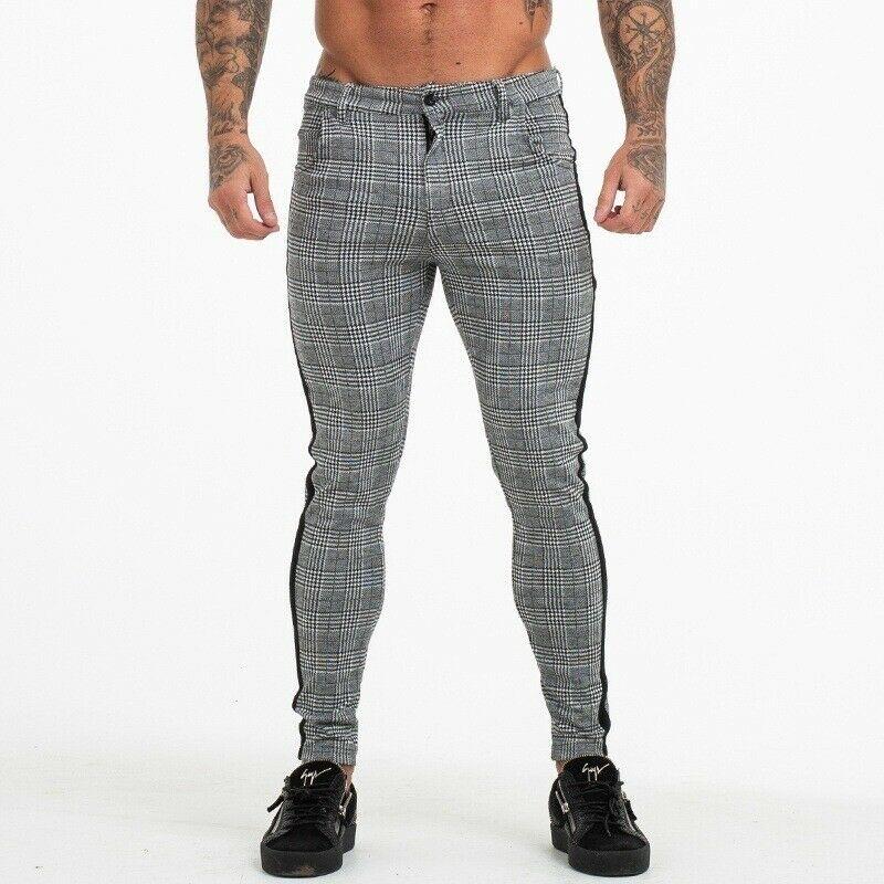 New Mens Grid Casual Slim Fit Skinny Stripe High Waist Pants Jogging Pants Long Pants Trousers