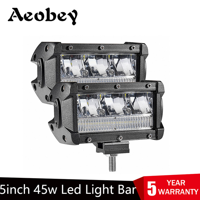Aeobey 2pcs 5inch 45w LED Light Bar Waterproof IP68 led work Light for led Driving light Offroad 4x4 Boat Car Tractor Truck atv