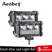 Aobey Barra de luces LED de 5 pulgadas y 45w, 2 uds., resistente al agua, IP68, luz de trabajo para luz led de conducción fuera de carretera, 4x4, barco, coche, Tractor, camión, atv
