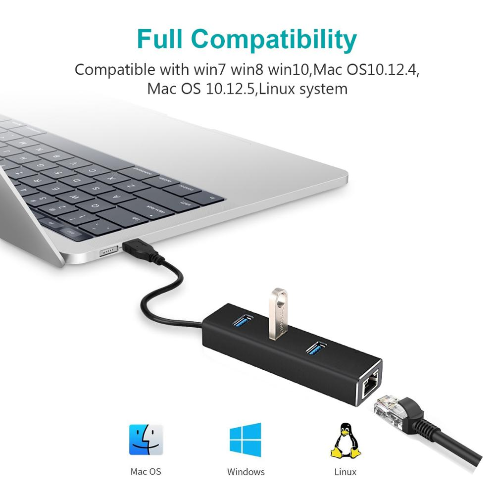 Image 3 - USB Ethernet Adapter 3 Ports USB 3.0 Hub USB to Rj45 Lan Network Card for Macbook pro Mac Desktop + Micro USB Charger Cable-in Network Cards from Computer & Office
