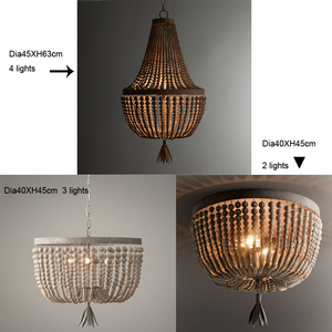 Image 5 - wooden/beaded chandelier retro/vintage/industrial/french chandelier light fittings for living/dining room shopping mall kitchen