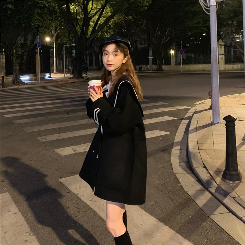 H71fa87c159e74e958a454829b95c2769V - Winter Korean Big Lapel Collar Mid-Long Faux Woolen Coat